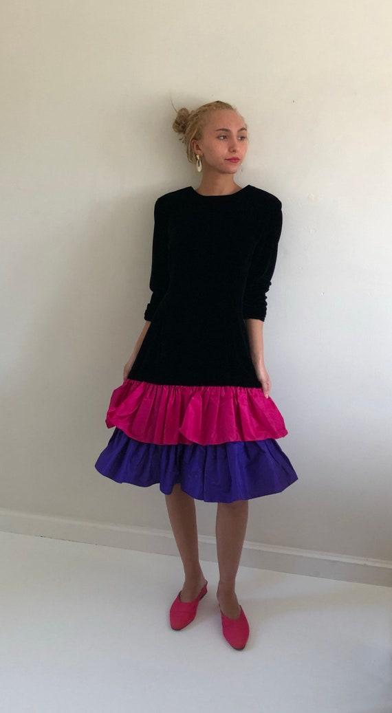 80s velvet ruffle dress / vintage black velvet dro