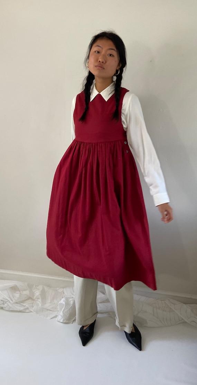 80s Laura Ashley pinafore dress / vintage garnet … - image 9