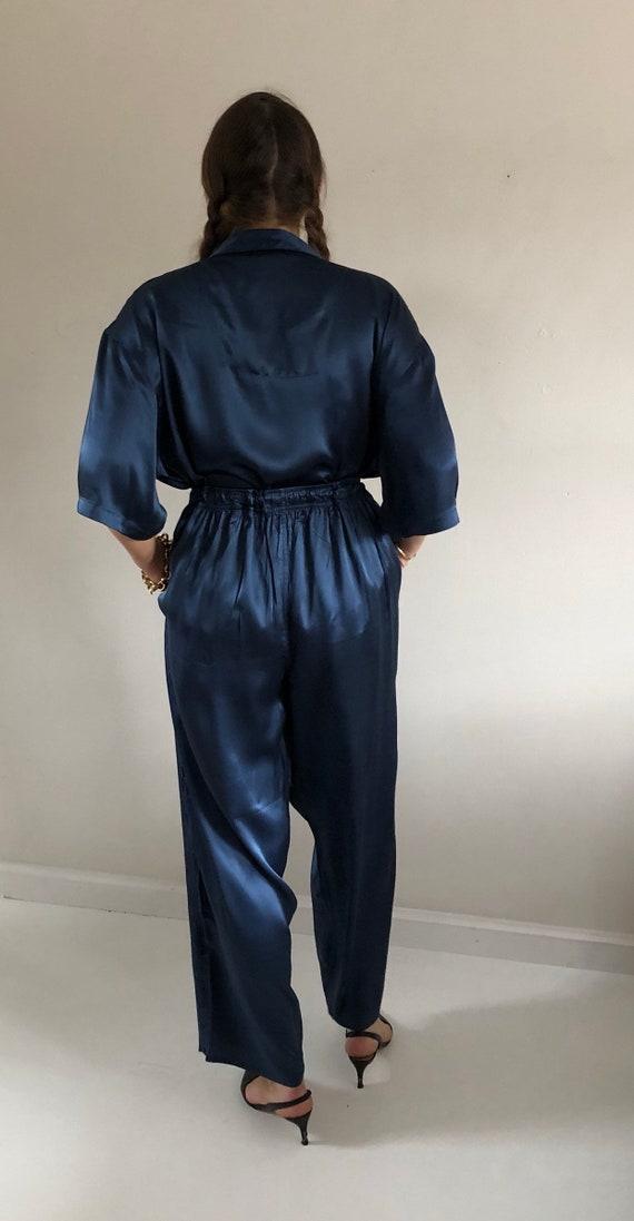 90s silk charmeuse pant suit / vintage blue liqui… - image 9