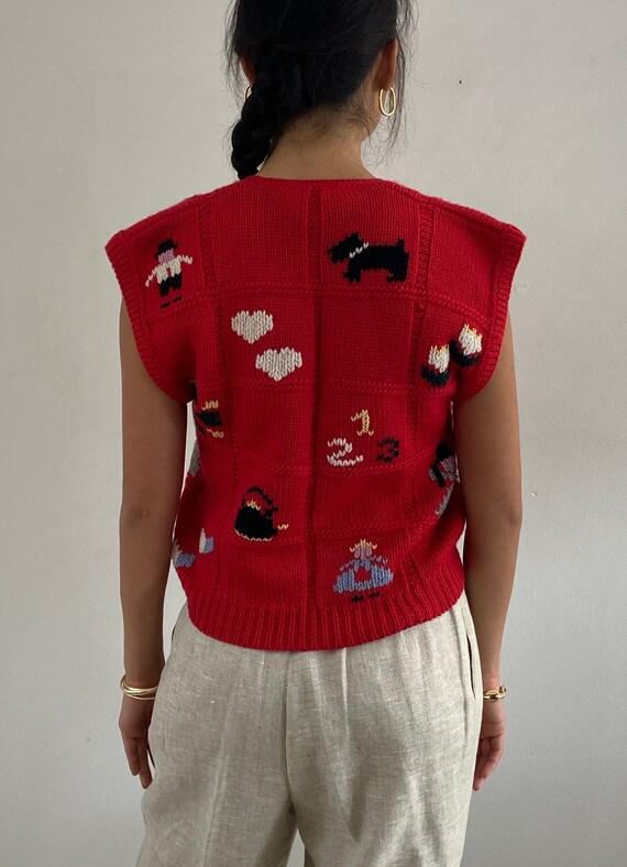 80s hand knit folk sweater vest gilet / vintage r… - image 4