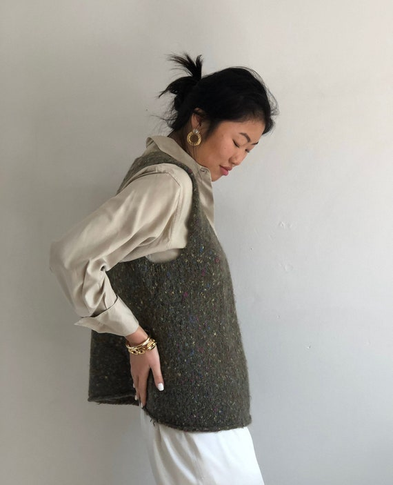 90s hand knit sweater vest / vintage olive handkn… - image 5
