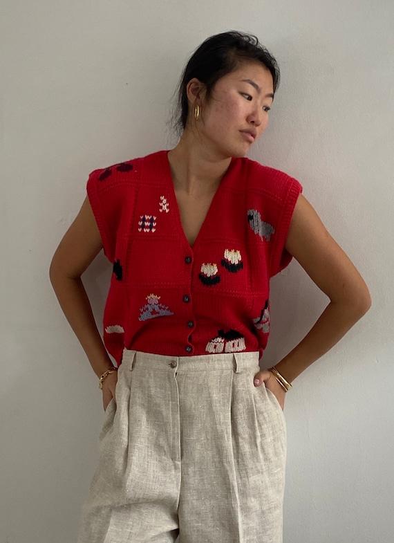 80s hand knit folk sweater vest gilet / vintage r… - image 7