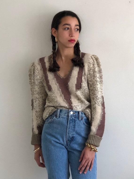 80s puff sleeve sweater / vintage beige ecru angor