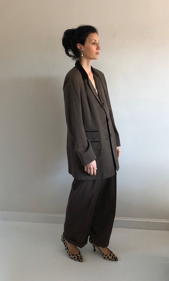 90s tweed pant suit / vintage wool brown equestri… - image 3