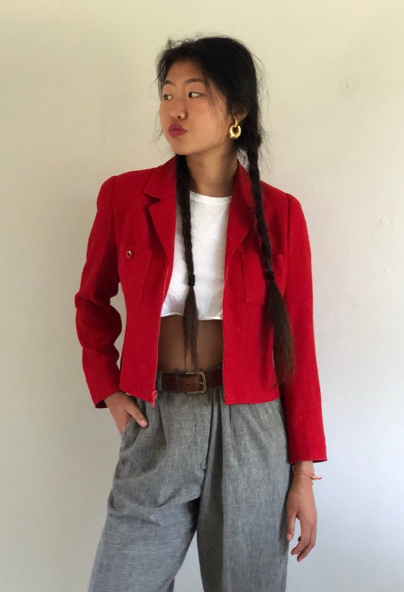 XS S 80s raw silk jacket  vintage red raw silk cropped zip front fitted jacket blazer