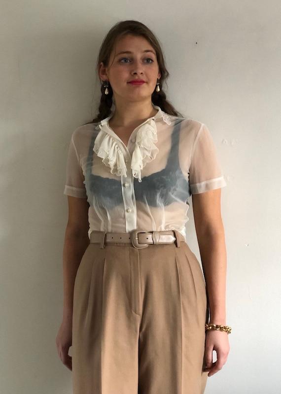 60s sheer ruffle blouse / vintage sheer creamy whi
