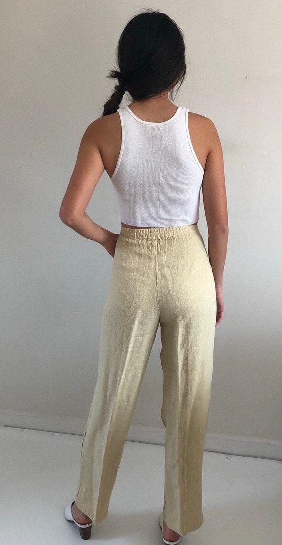 80s linen pant suit / vintage buttercream raw wov… - image 9