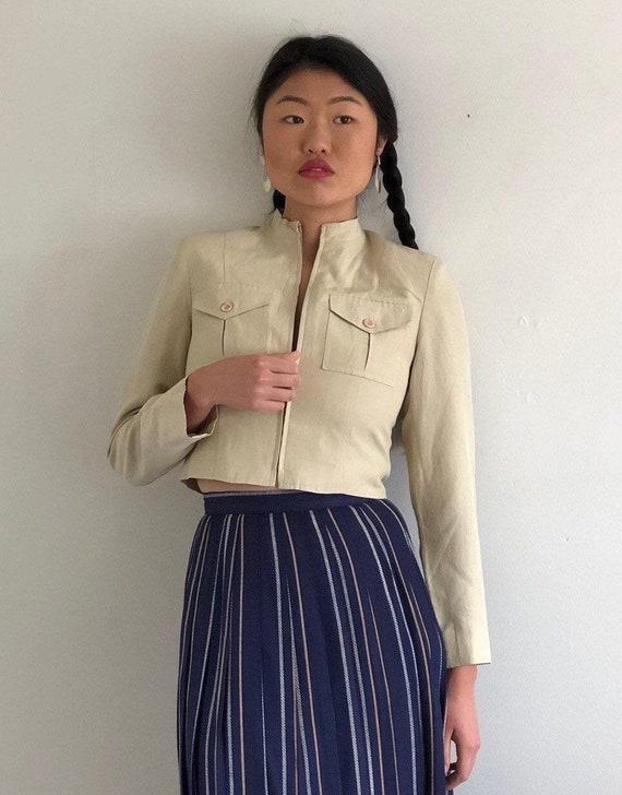 90s silk + linen cropped blazer bomber jacket / vi