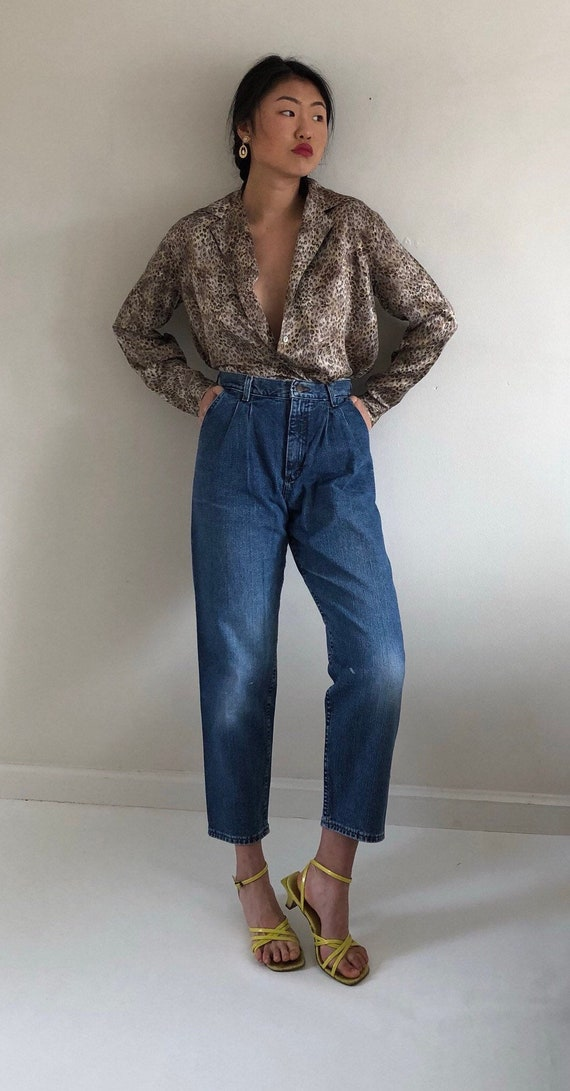 80s pleated jeans trousers / vintage Lee high wais