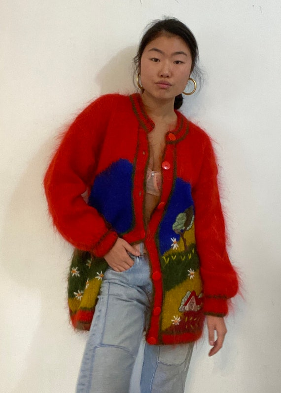 80s scenic mohair cardigan sweater / vintage hand… - image 1