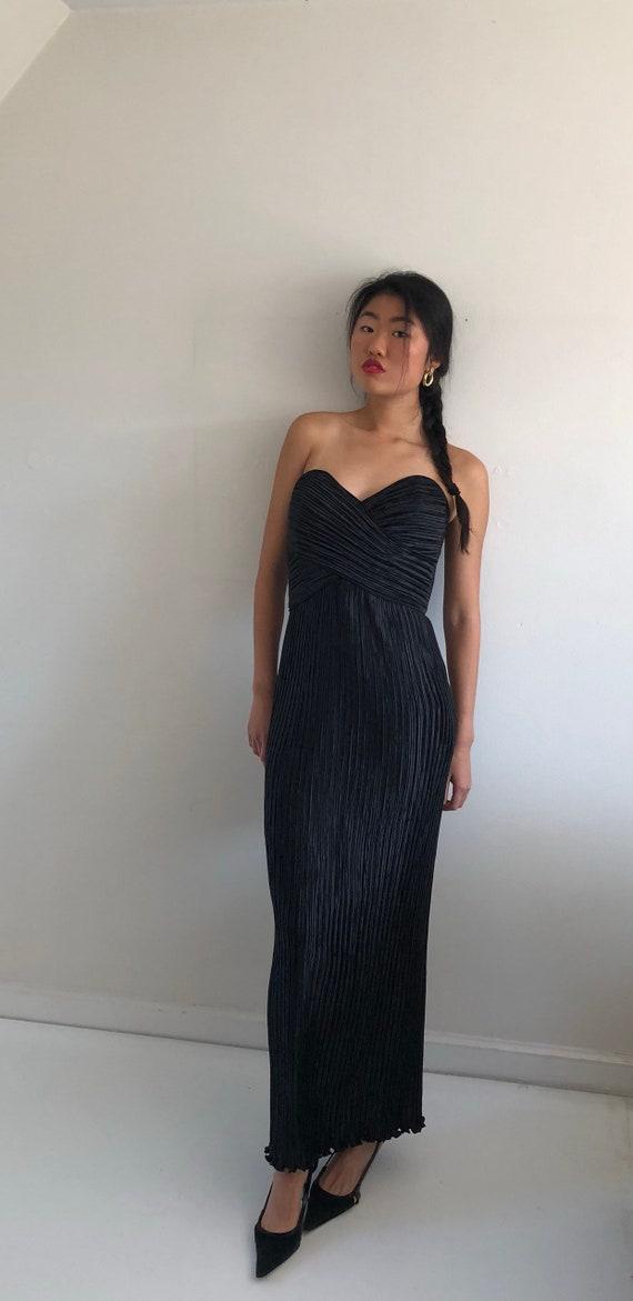 80s fortuny pleats black long evening dress gown   black  68ba578c4