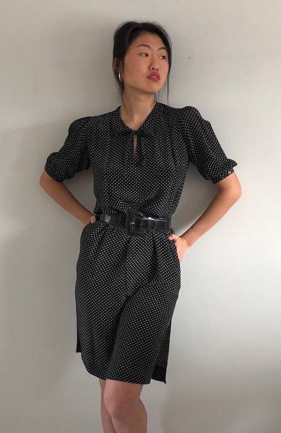 80s Muriel Grateau silk dress / vintage black silk