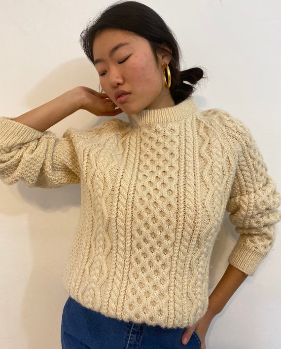 80s hand knit fisherman thick wool sweater / vinta