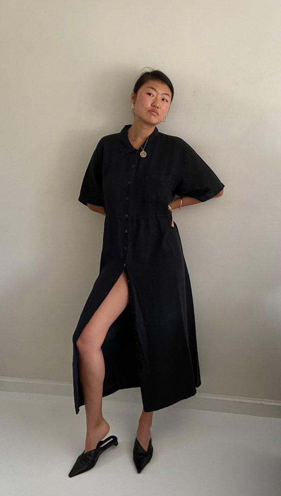 90s linen shirt dress / vintage black woven linen