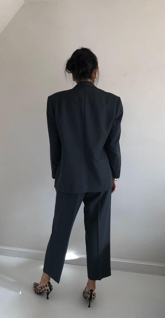 90s double breasted wool pant suit / vintage over… - image 8