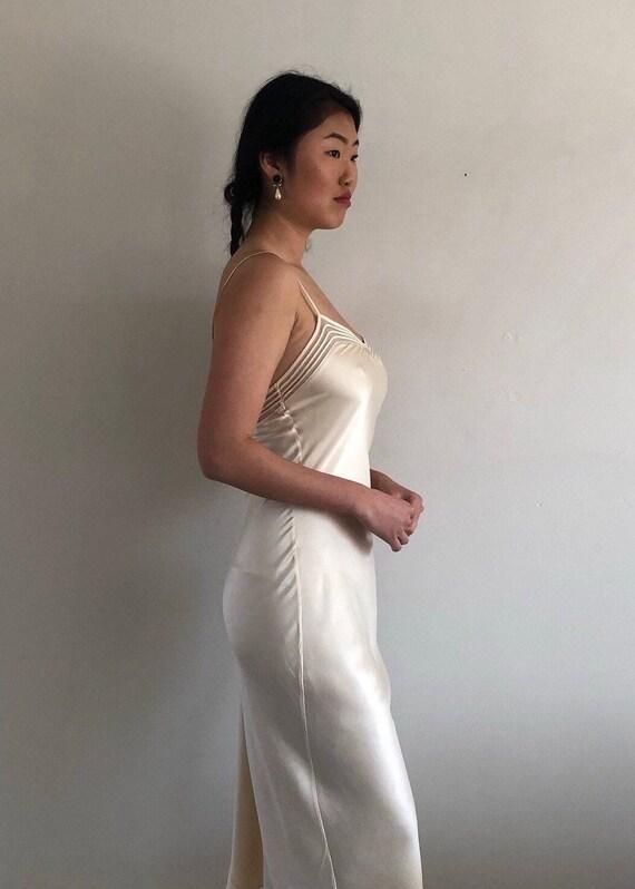 90s silk charmeuse long slip dress / vintage crea… - image 4