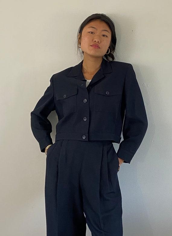 90s Emanuel Ungaro pant suit / vintage vtg midnigh
