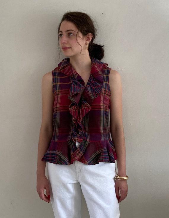 90s Ralph Lauren linen ruffle blouse / vintage ma… - image 2