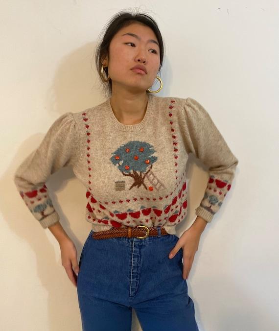 80s scenic puff sleeve sweater / vintage cream wo… - image 1