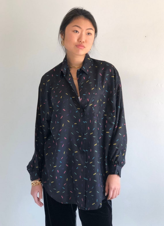 90s silk oversized blouse / vintage black silk squ