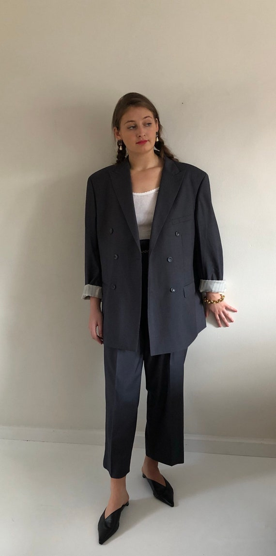 90s double breasted wool pant suit / vintage overs