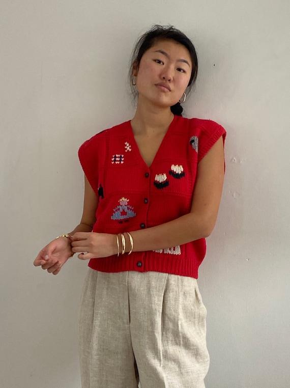 80s hand knit folk sweater vest gilet / vintage r… - image 1