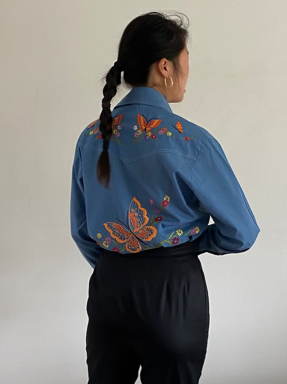70s hand embroidered rare butterfly chambray shirt