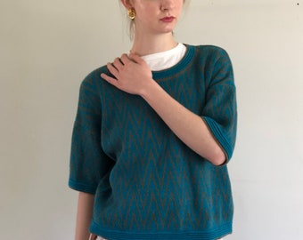 80s chunky cropped sweater tee / teal & tobacco chevron sweater / cotton blend oversized sweater | large