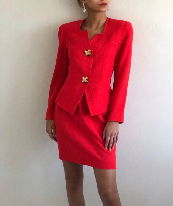 80s wool peplum suit / vintage red wool   crepe ni