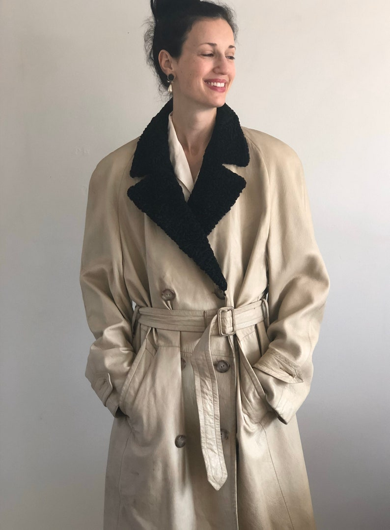 70s leather belted double breasted trench coat  vintage Persian lamb fur collar ivory genuine leather belted trench jacket coat L