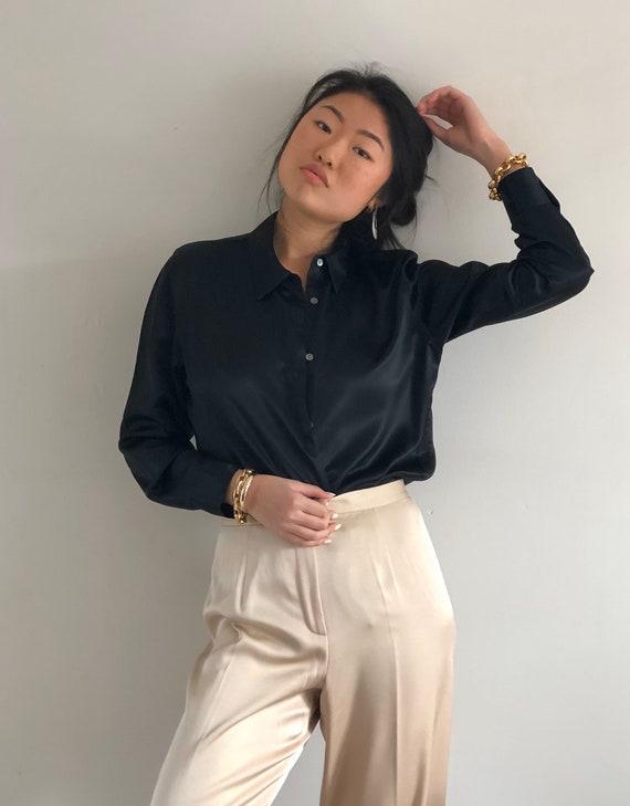 90s silk charmeuse blouse / vintage black noir liq