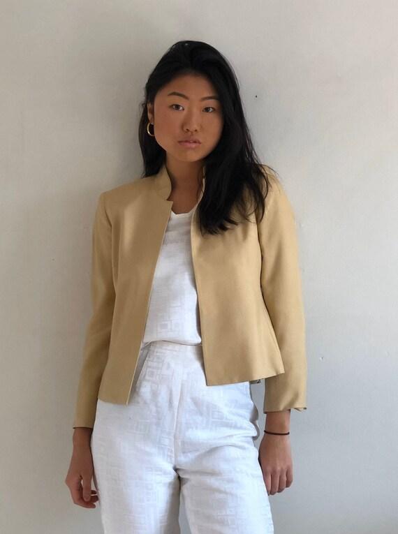 90s silk dupioni cropped blazer jacket / vintage c