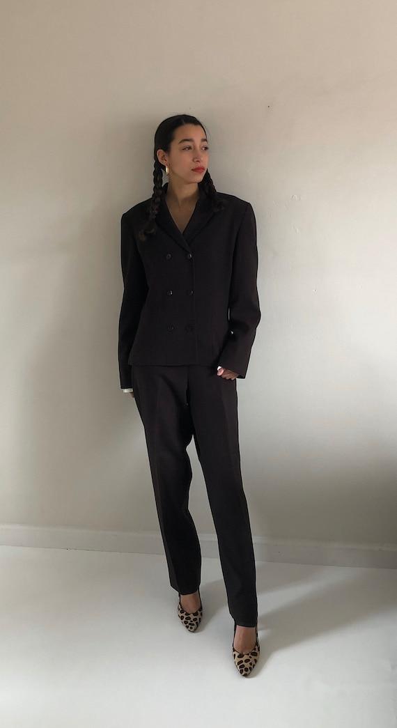 90s Bill Blass pant suit / vintage chocolate brow… - image 2
