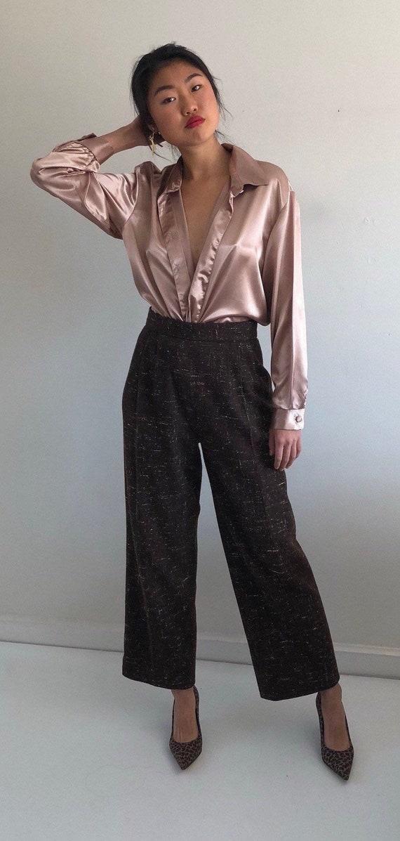90s tweed wide leg pants / vintage speckled wool t