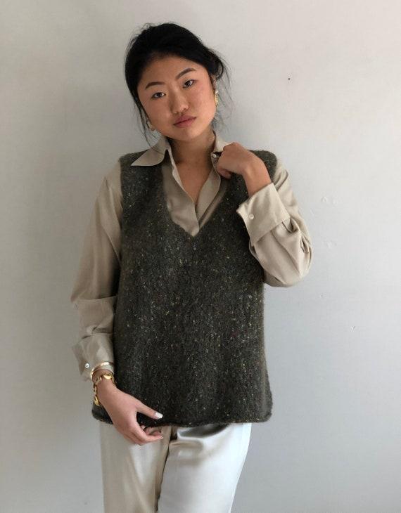 90s hand knit sweater vest / vintage olive handkn… - image 4