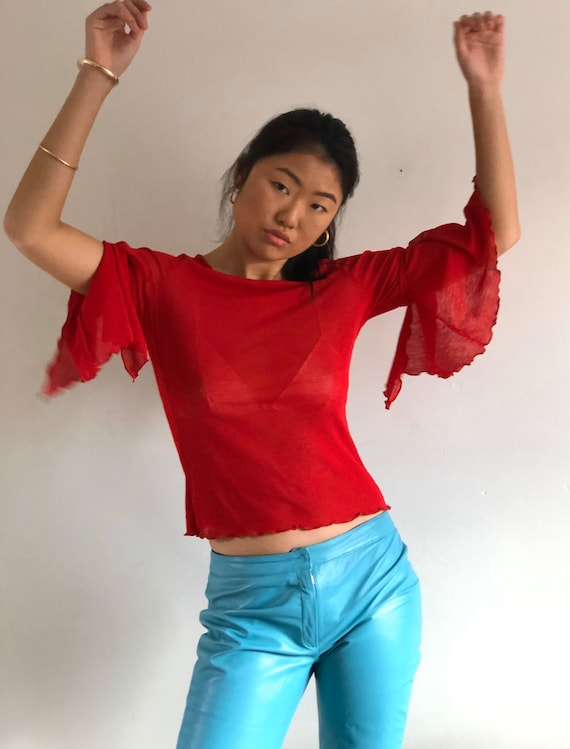 90s red mesh sheer top / vintage red sheer mesh be