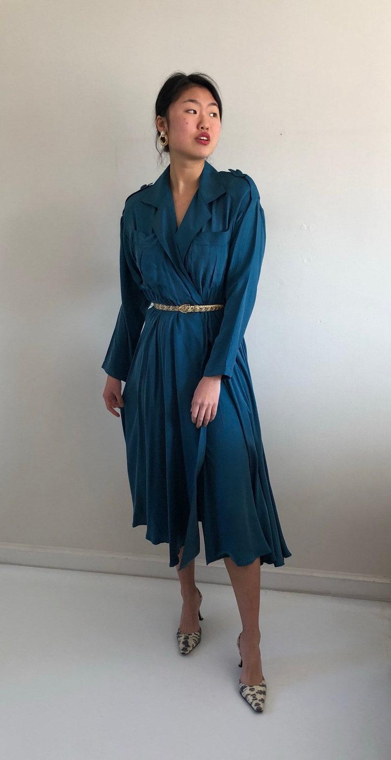 80s silk wrap dress   cerulean blue plunging neckline wrap  406dec1a7