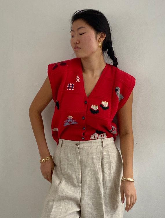 80s hand knit folk sweater vest gilet / vintage r… - image 3