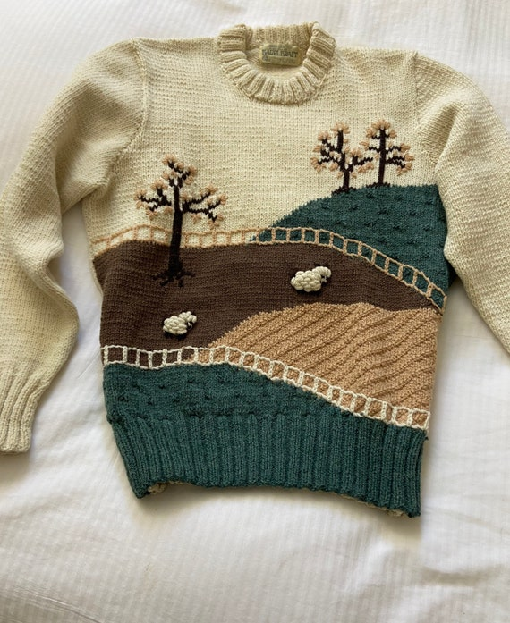 70s hand knit scenic farm sheep sweater / vintage… - image 4