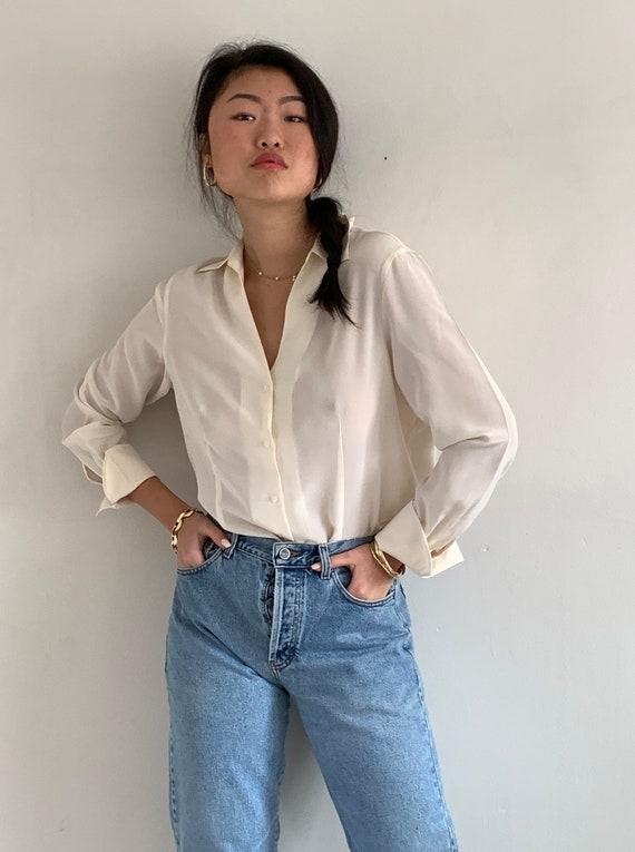 90s silk blouse / vintage sheer eggshell off white