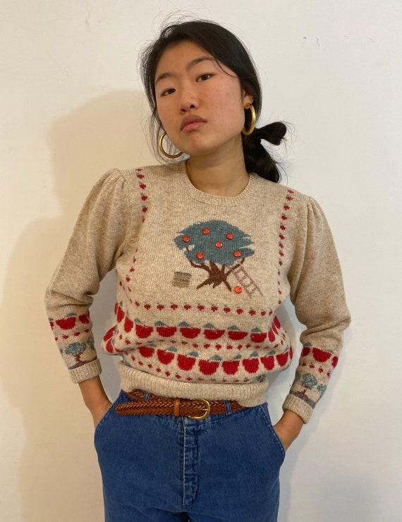 80s scenic puff sleeve sweater / vintage cream wo… - image 2