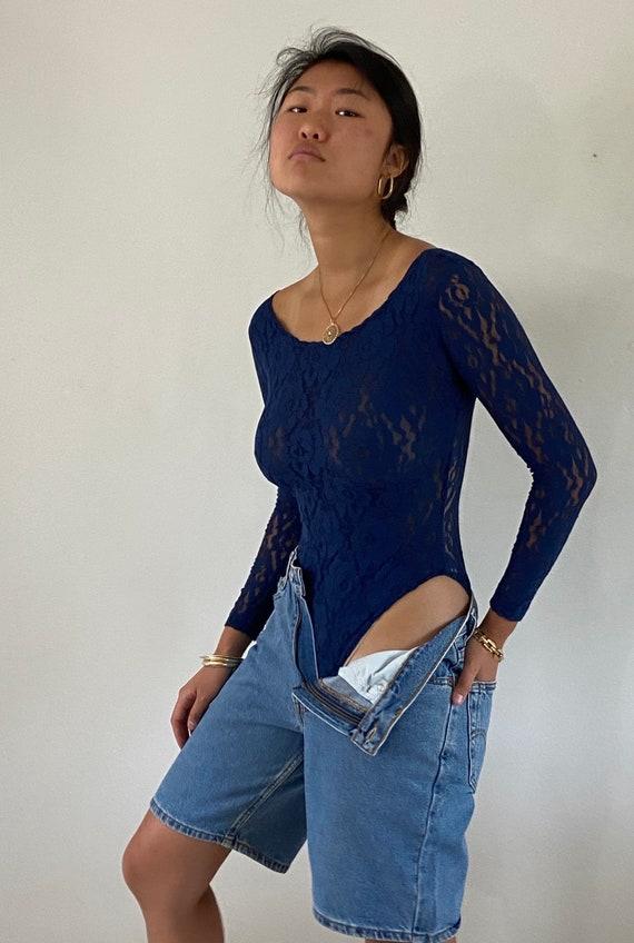 90s lace bodysuit / vintage navy blue stretch lace
