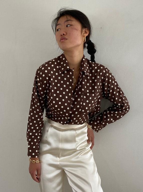 Green Vintage Casual Summer Retro Mod Secretary Sleeveless Shirt  M Medium 90s Mustard Polka Dots Fitted Womens Vest