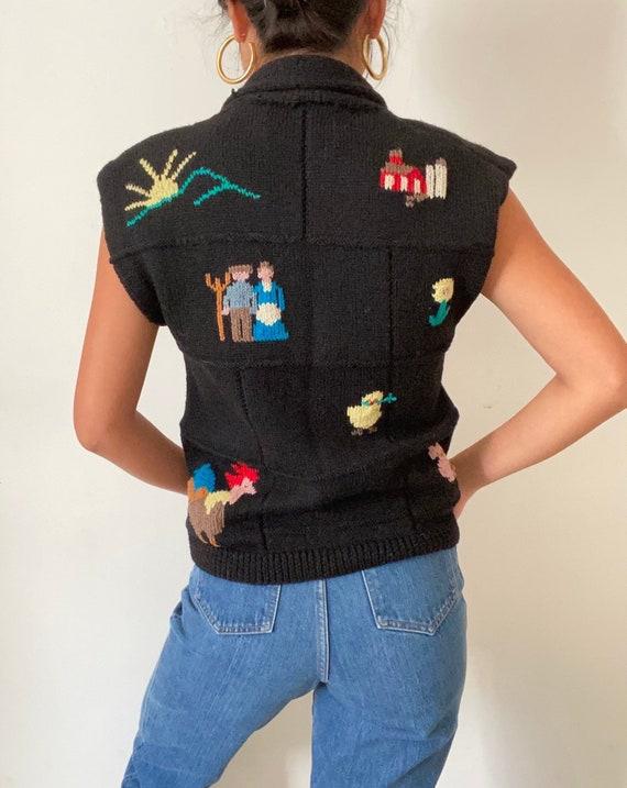 80s handknit folk sweater vest gilet / vintage bl… - image 6