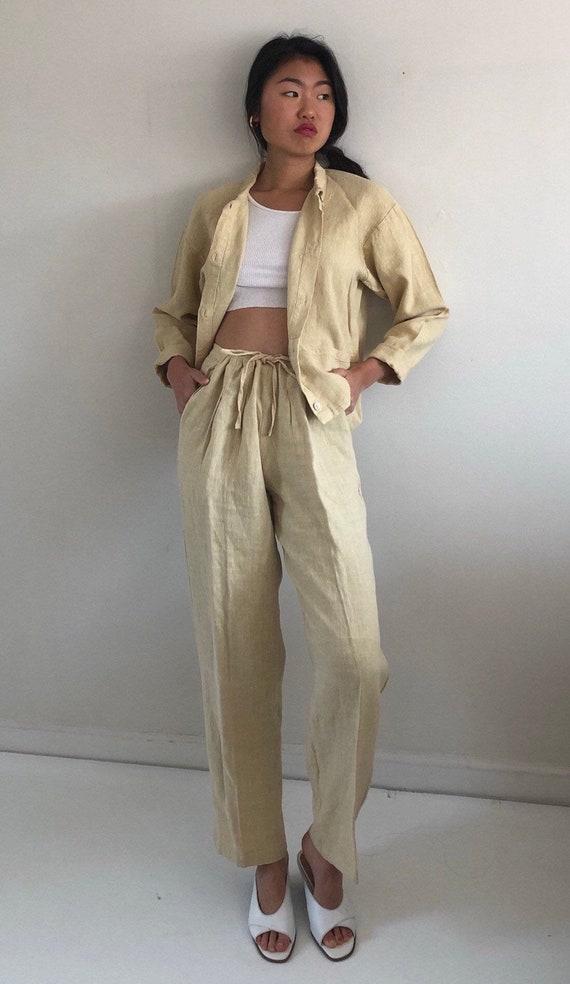80s linen pant suit / vintage buttercream raw wove