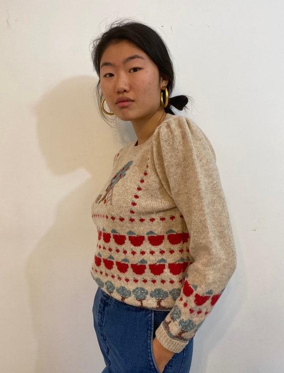 80s scenic puff sleeve sweater / vintage cream wo… - image 3