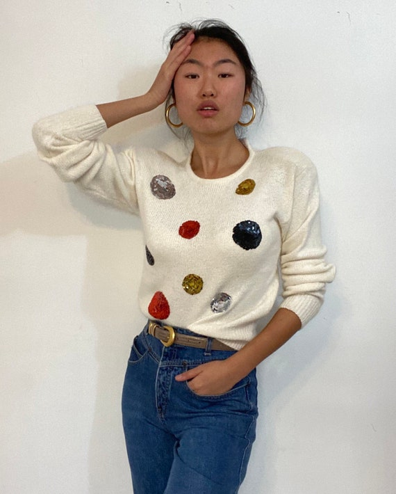 90s sequins batwing sweater  / vintage white silk