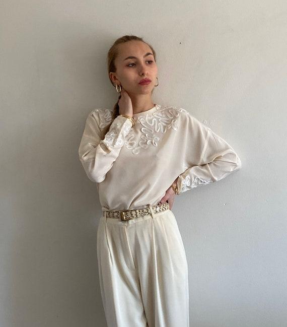 80s silk soutache batwing sleeve blouse / vintage
