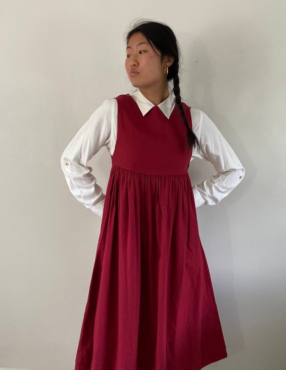 80s Laura Ashley pinafore dress / vintage garnet … - image 1