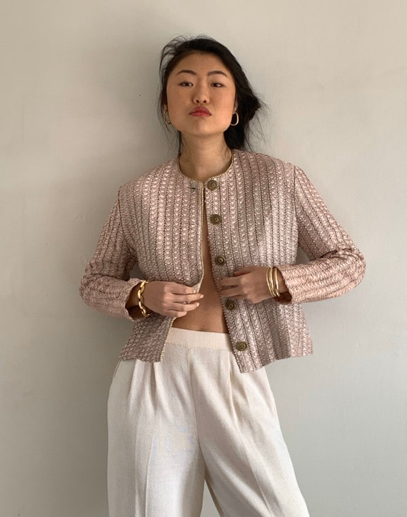 80s ribbon blazer / vintage blush woven pleated ri